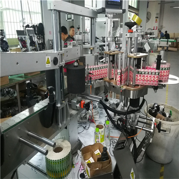آلة لصق ملصقات مزدوجة الجانب لزجاجة زيت الجرار المربعة المستطيلة