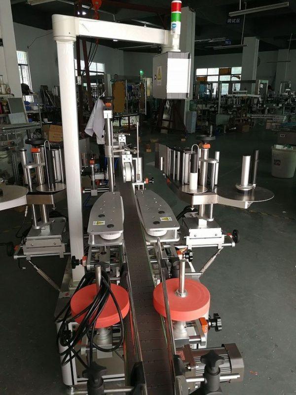 آلة لصق الملصقات الأوتوماتيكية المزدوجة الجانبية للشامبو والزجاجات المسطحة