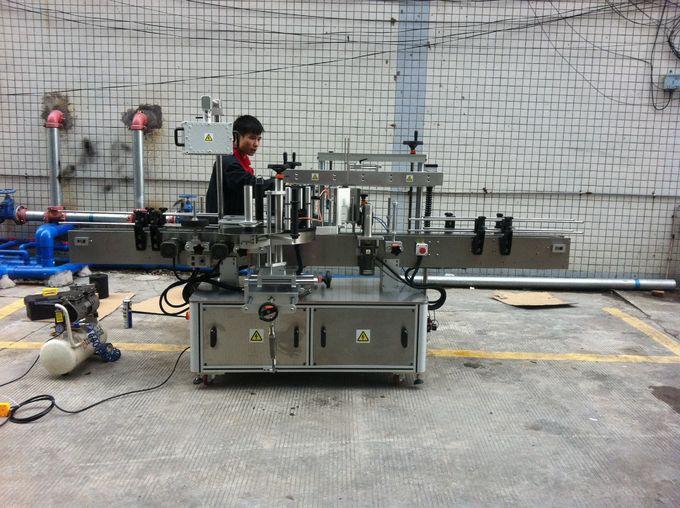 آلة وضع العلامات على الزجاجات المستديرة اللاصقة الأوتوماتيكية الكاملة لزجاجات الحيوانات الأليفة الأمامية والخلفية